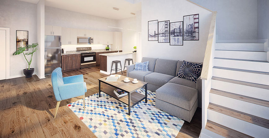 Apartment Living Room at The Mark Tucson
